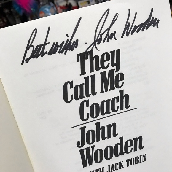"""'88 John Wooden Signed Book """"They Call Me Coach"""""""